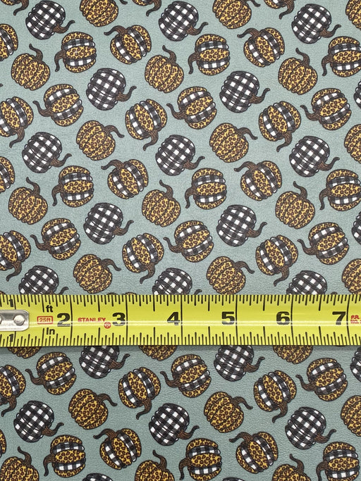 Fall Leopard and Buffalo Plaid Pumpkin Printed Marine Vinyl Faux Leather