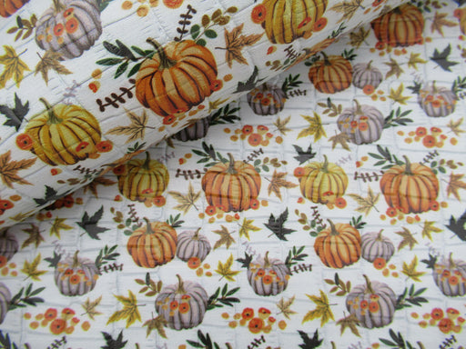 Pumpkin Patch Printed Embossed Cowhide