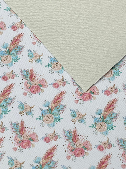 Floral Faux Leather Sheet - Flower #14
