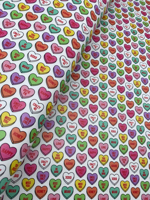 Heart Candy Printed Marine Vinyl Faux Leather