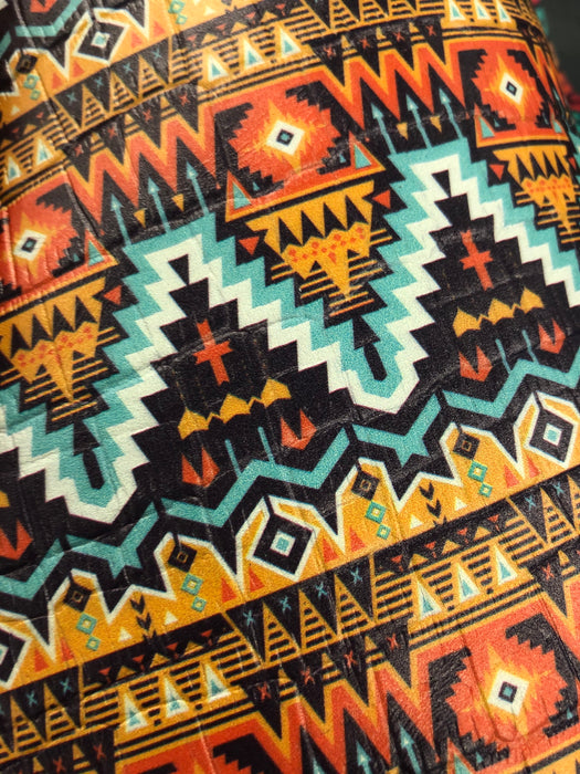 Southwestern Aztec Printed Embossed Leather
