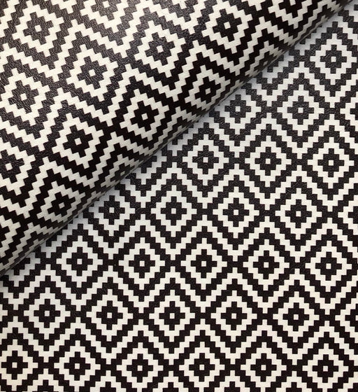 Black Aztec Printed Marine Vinyl Faux Leather
