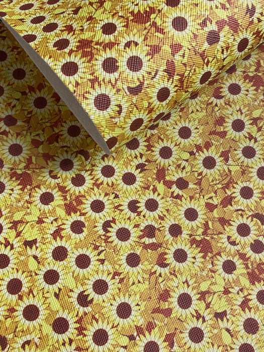 Sunflower Printed Faux Leather