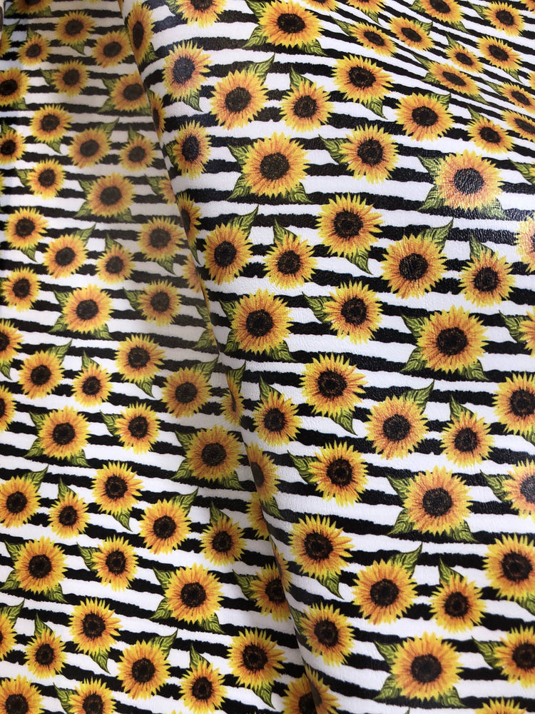 Sunflower Stripe Printed Marine Vinyl Faux Leather
