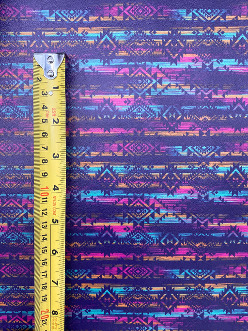 Distressed Aztec Printed Marine Vinyl Faux Leather