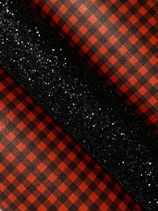 Red Buffalo Plaid Printed Marine Vinyl Faux Leather