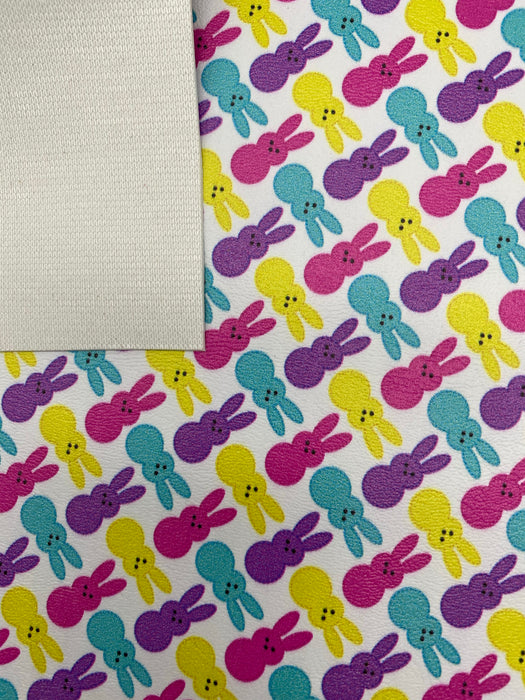 Marshmallow Bunnies - Printed Marine Vinyl Faux Leather