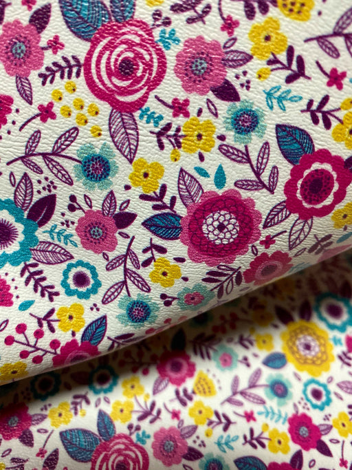 Abstract Floral Printed Marine Vinyl Faux Leather