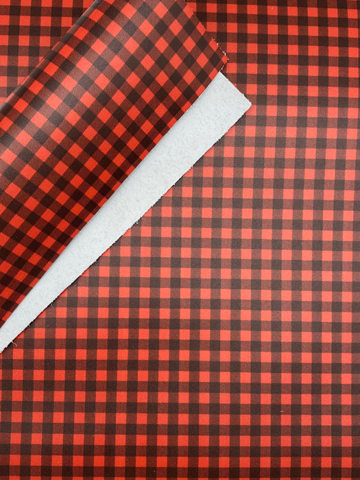 Red & Black Buffalo Plaid Printed Leather