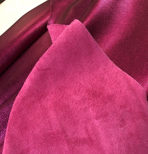 Metallic Magenta Pebble Grain Leather Sheet