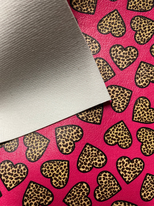 Wild Love - Leopard Heart Printed Marine Vinyl Faux Leather