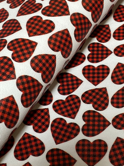 Buffalo Plaid Hearts - Printed Marine Vinyl Faux Leather