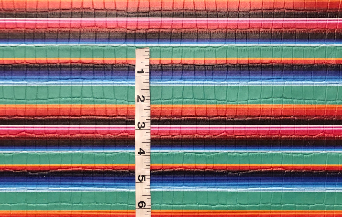 Turquoise Serape Printed Embossed Leather