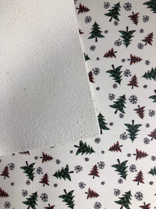 Plaid Holiday Trees Printed Leather