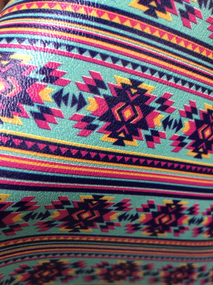 Chinle Pattern - Turquoise and Hot Pink Aztec Printed Upholstery Vinyl Faux Leather