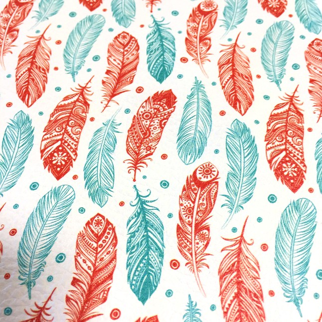 Bright Feathers Printed Leather