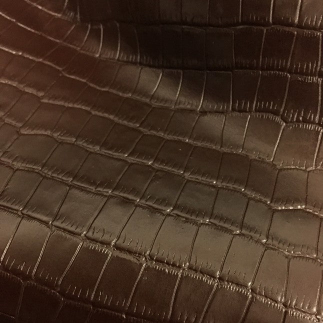 Brown Crocodile Embossed Cowhide