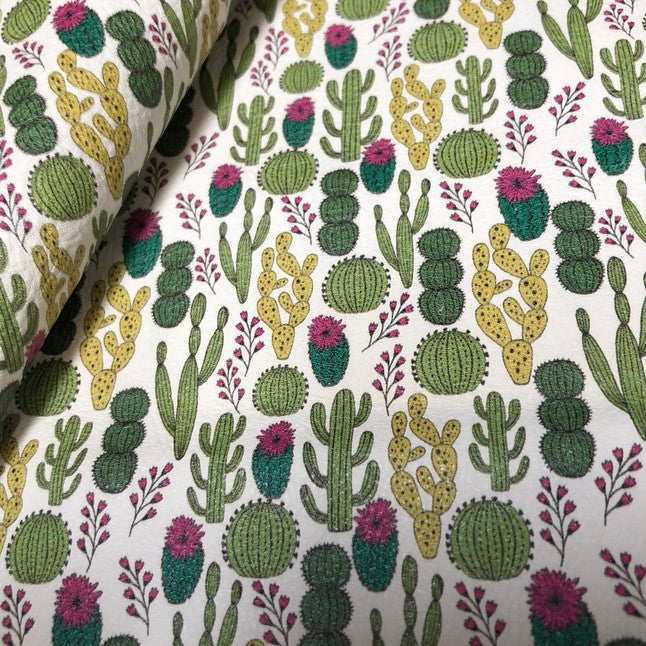 Cacti Variety Printed Leather