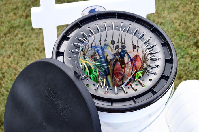 The Barb Buddy offers you:  Fish Rig Storage system,deep sea fishing organizer, saltwater fishing accessories, hook protection, rig transportation, fish gear management, rig bucket organization, heavy tackle storage, tackle bucket lid, convenient tackle storage, fishing tackle cleaning, boat tackle organizer, easy rig cleaning, stop tangled lures, compact rig organizer, simplified lure storage pier fishing bucket seat durable lure system