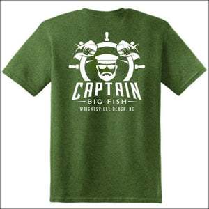 Captain Big Fish Logo Short Sleeve T-Shirt - S / Military Green - White - Apparel