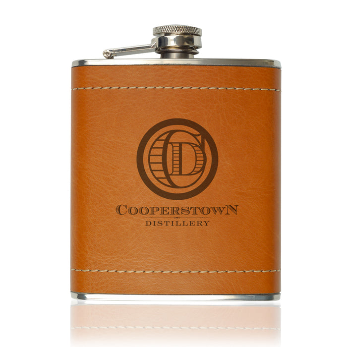 Cooperstown Distillery Baseball Leather Flask