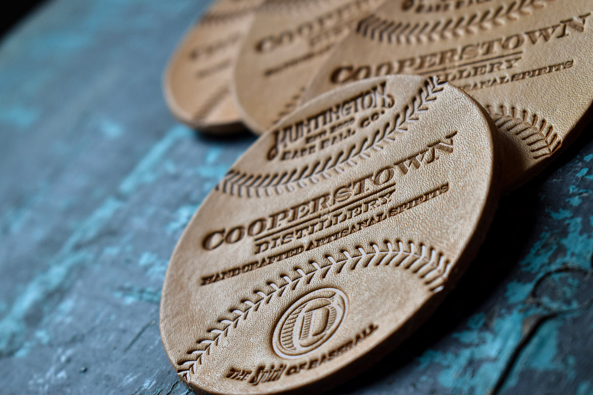 Leather Baseball Coasters (Set of 4)