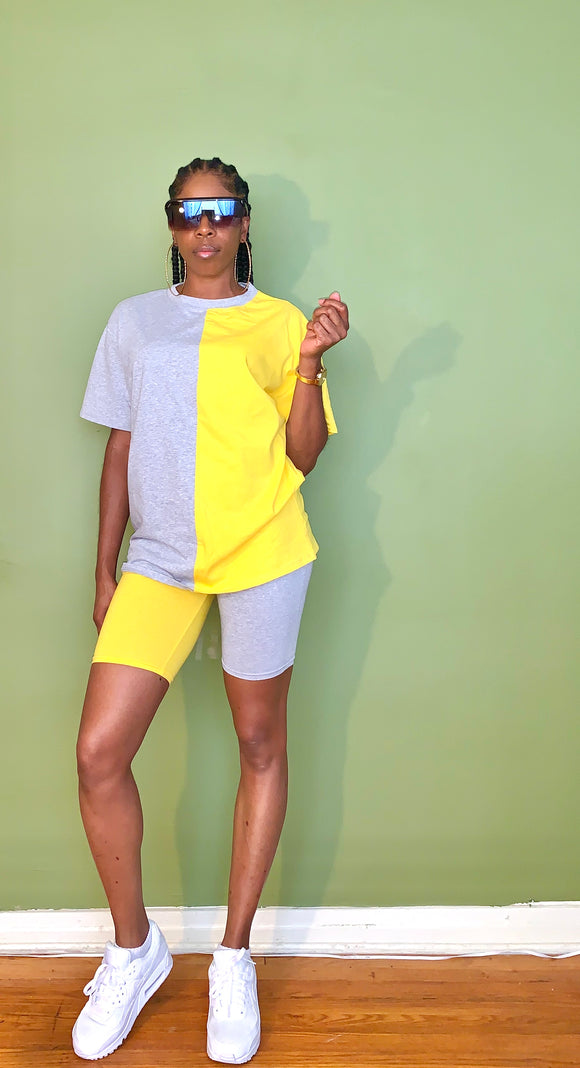 Color Block (Yellow/Gray) Shorts Set - Gordon Sophia Collections