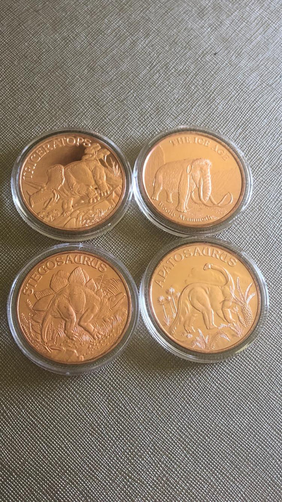 Dinosaur copper coins - set of 4