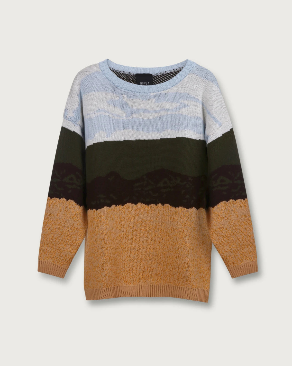 'Wheat field' crew-neck oversized sweater