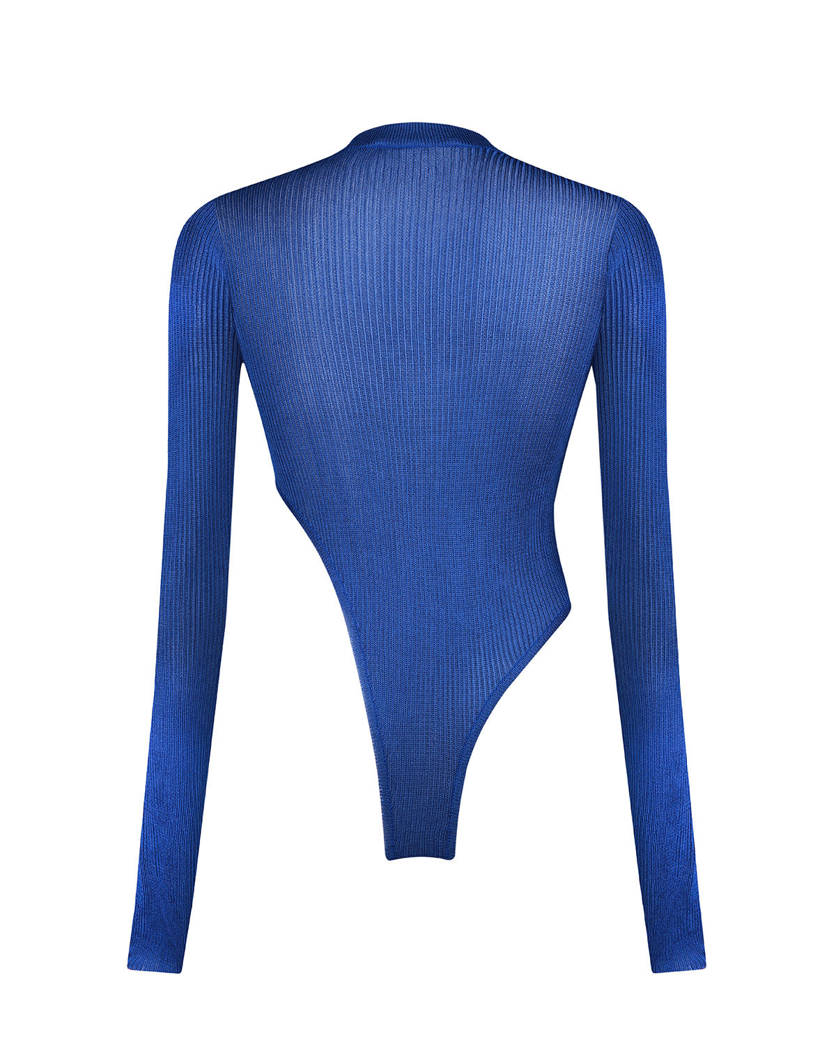 Electric Blue Knitted Asymmetric Bodysuit