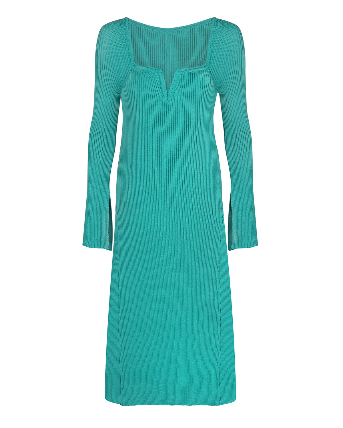 V-neck knitted midi light green dress