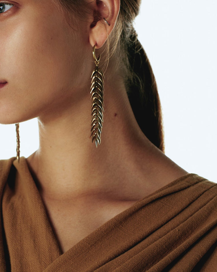 Spikelet long earrings