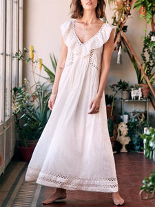 Fungus Sleeve V-Neck Loose Maxi Dress