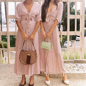 Fashion Sexy Plaid  Half Sleeve Loose Dress