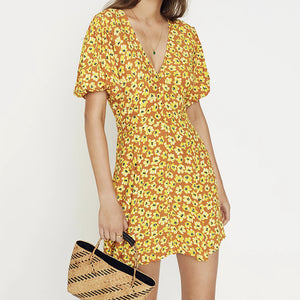 Sweet V-Neck Puff Short Sleeve Button Floral Mini Dress(Video)