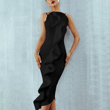 Load image into Gallery viewer, Eleagant Strap Solid Color Slim Dress