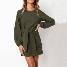 Load image into Gallery viewer, Sexy Round Neck Bag Hip Long Sleeve Solid Color Mini Dress