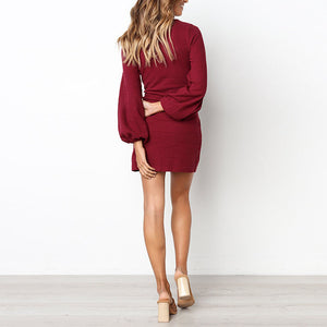 Sexy Round Neck Bag Hip Long Sleeve Solid Color Mini Dress