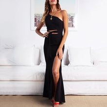 Load image into Gallery viewer, Sexy Sloping Shoulder Sleeveless Pure Colour Slit Dress
