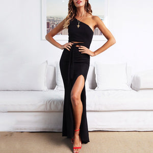 Sexy Sloping Shoulder Sleeveless Pure Colour Slit Dress
