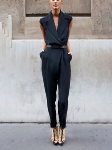 Fashion Sleeveless Solid Color Pocket Jumpsuits