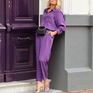 Brief Fold-Over Collar Long Sleeve Pockets Jumpsuit