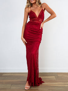 Sling Backless Solid Color Sexy Maxi Dress