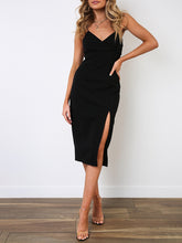 Load image into Gallery viewer, Sexy Sling V-Neck Sleeveless Solid Color Dress