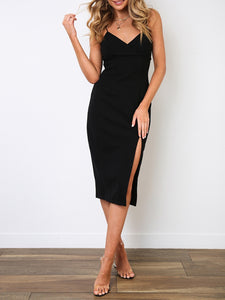 Sexy Sling V-Neck Sleeveless Solid Color Dress