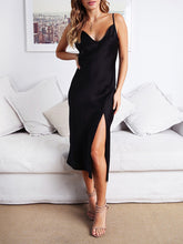 Load image into Gallery viewer, Sheath Solid Color Sling Sleeveless Side Slit Dress