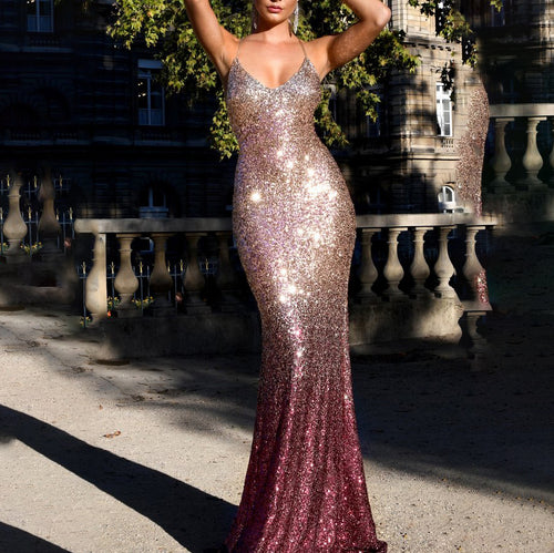 Sexy V-Neck Sling Sequined Gradient Bodycon Dress