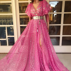 Sweet Deep V-Neck Gauze Stars Sequins Ruffled Short Sleeve High Slits Maxi Dress
