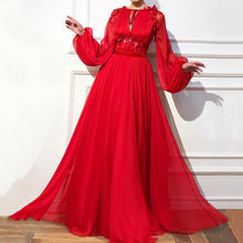Load image into Gallery viewer, Elegant Round Neck Tie With High Waist Solid Color Applique Long Puff Sleeve Maxi Dress