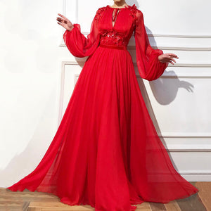 Elegant Round Neck Tie With High Waist Solid Color Applique Long Puff Sleeve Maxi Dress